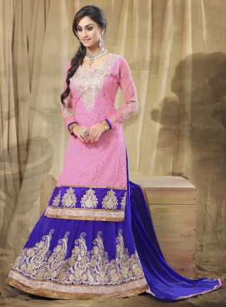 Festive Favorite:atisundar Attractive Faux Georgette Designer Embroidered Lehenga in Pink - 5514 - atisundar - 1 - click to zoom