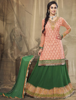 Festive Favorite:atisundar exquisite Faux Georgette Designer Embroidered Lehenga in Peach - 5515 - atisundar - 1 - click to zoom