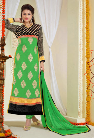 Designer Karachi Work Embroidered and Printed Straight Cut:atisundar radiant Green Straight Cut with Embroidery and Digital Print - 6443 - atisundar - 1 - click to zoom