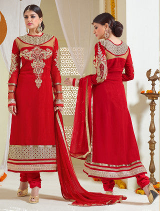Designer Karachi Work Embroidered and Printed Straight Cut:atisundar angelic Red Straight Cut with Embroidery and Digital Print - 6445 - atisundar - 1 - click to zoom