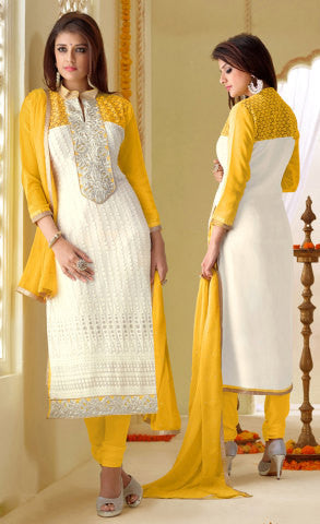 Designer Karachi Work Embroidered and Printed Straight Cut:atisundar delicate White Straight Cut with Embroidery and Digital Print - 6447 - atisundar - 1 - click to zoom