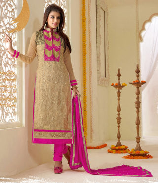Designer Karachi Work Embroidered and Printed Straight Cut:atisundar Smart Beige Straight Cut with Embroidery and Digital Print - 6448 - atisundar - 1 - click to zoom