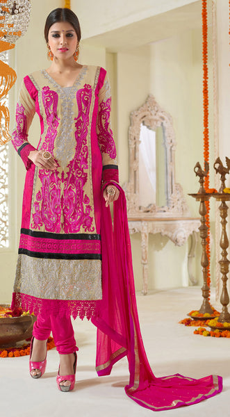 Designer Karachi Work Embroidered and Printed Straight Cut:atisundar angelic Beige And Pink Straight Cut with Embroidery and Digital Print - 6449 - atisundar - 3 - click to zoom