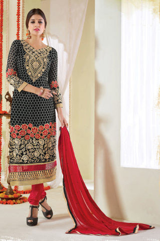 Designer Karachi Work Embroidered and Printed Straight Cut:atisundar admirable Black Straight Cut with Embroidery and Digital Print - 6450 - atisundar - 1 - click to zoom