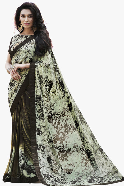 Designer Party wear Saree:atisundar delicate Designer Printed Saree in Faux Georgette with Border in Cream And Brown  - 10756 - atisundar - 1 - click to zoom