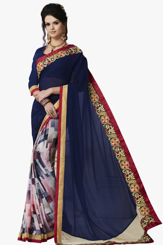 Designer Party wear Saree:atisundar cute Party wear Sarees with designer blouses and embroidered border in Blue And Red  - 10750 - atisundar - 1 - click to zoom