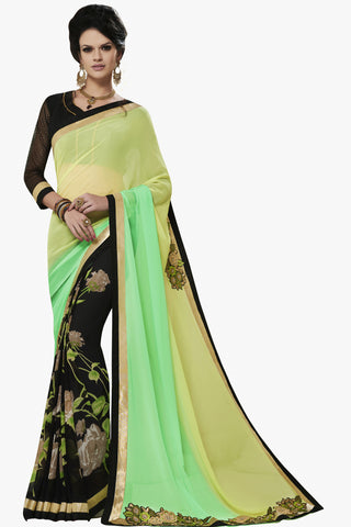 Designer Party wear Saree:atisundar Awesome Party wear Sarees with designer blouses and embroidered border in Green And Black  - 10752 - atisundar - 1 - click to zoom