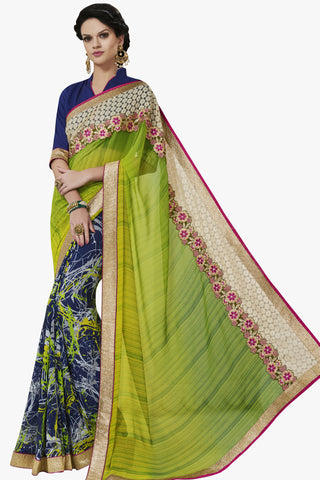Designer Party wear Saree:atisundar magnificent Party wear Sarees with designer blouses and embroidered border in Green And Blue  - 10753 - atisundar - 1 - click to zoom
