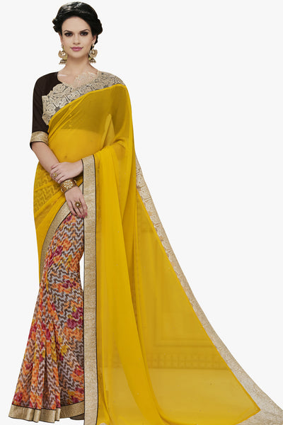 Designer Party wear Saree:atisundar superb Party wear Sarees with designer blouses and embroidered border in Yellow And Cream  - 10755 - atisundar - 1 - click to zoom