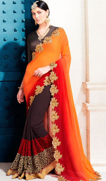 Designer Saree:atisundar bewitching Designer Embroidered Saree in Orange  - 10367 - atisundar - 1 - click to zoom