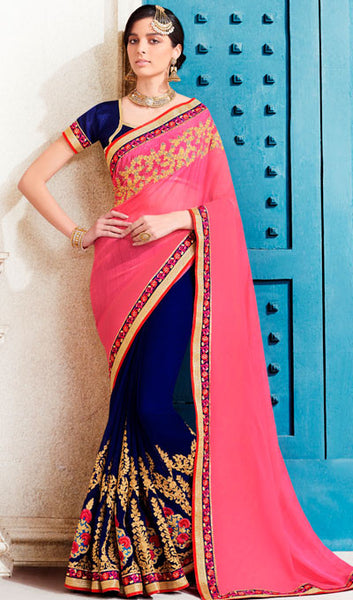 Designer Saree:atisundar comely Designer Embroidered Saree in Pink  - 10373 - atisundar - 1 - click to zoom