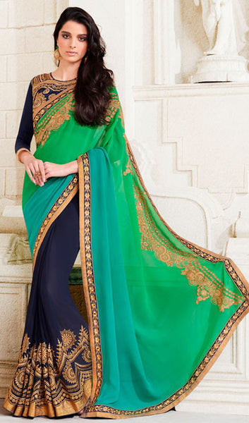 Designer Saree:atisundar gorgeous Designer Embroidered Saree in Green  - 10379 - atisundar - 1 - click to zoom