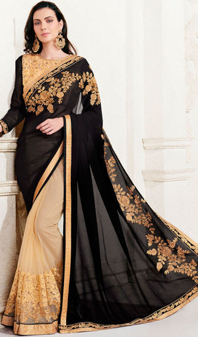 Designer Saree:atisundar splendid Designer Embroidered Saree in Black  - 10381 - atisundar - 1 - click to zoom