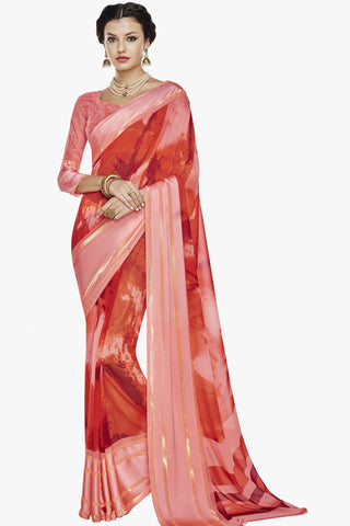 Designer Party wear Saree:atisundar Charismatic Designer Printed Saree with Fancy Border in Satin Georgette in Red And Pink  - 10765 - atisundar - 1 - click to zoom