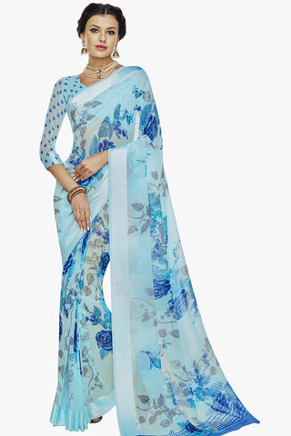 Designer Partywear Saree:atisundar radiant Designer Printed Saree with Fancy Border in Satin Georgette in Sky Blue  - 10766 - atisundar - 1 - click to zoom