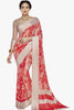 Designer Party wear Saree:atisundar dazzling Designer Printed Saree with Fancy Border in Satin Georgette in Red And Cream  - 10768 - atisundar - 1 - click to zoom