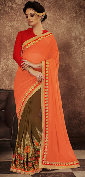 Designer Embroidered Saree:atisundar delicate Designer Embroidered Party Wear Sarees in Peach  - 8987 - click to zoom
