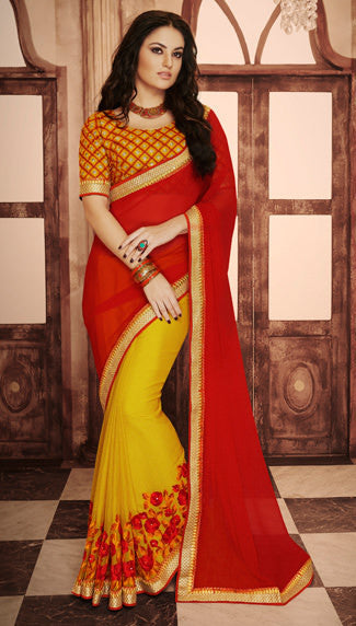 Designer Embroidered Saree:atisundar beauteous Designer Embroidered Party Wear Sarees in Red  - 8990 - atisundar - 2 - click to zoom