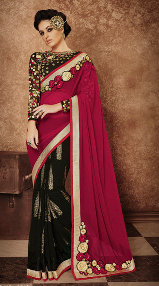 Designer Embroidered Saree:atisundar magnificent Designer Embroidered Party Wear Sarees in Red  - 8998 - click to zoom