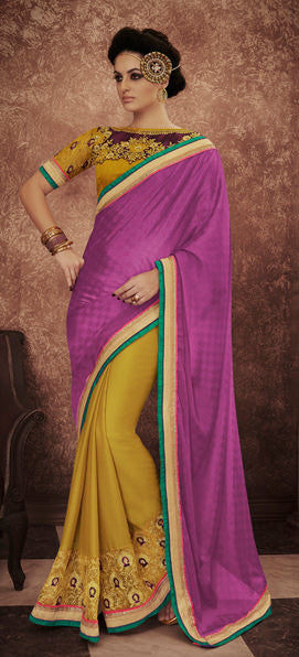Designer Embroidered Saree:atisundar lovely Designer Embroidered Party Wear Sarees in Yellow  - 8999 - atisundar - 2 - click to zoom