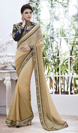 Designer Embroidered Saree:atisundar appealing Designer Embroidery Saree in Beige  - 8573 - atisundar - 2 - click to zoom