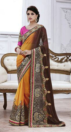 Designer Embroidered Saree:atisundar marvelous Designer Embroidery Saree in Yellow  - 8576 - click to zoom