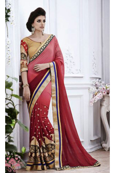 Designer Embroidered Saree:atisundar splendid Designer Embroidery Saree in Red - 8578 - click to zoom