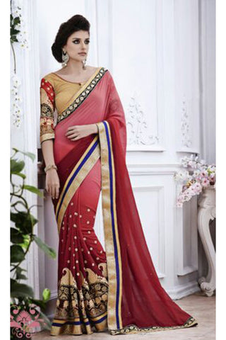 Designer Embroidered Saree:atisundar splendid Designer Embroidery Saree in Red - 8578
