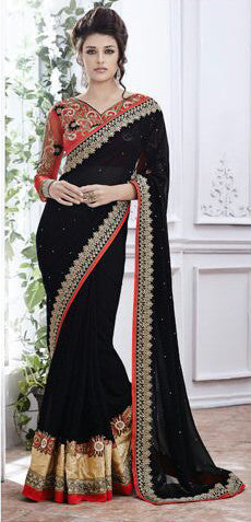 Designer Embroidered Saree:atisundar admirable Designer Embroidery Saree in Black  - 8579 - atisundar - 1 - click to zoom