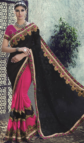 Designer Saree:atisundar wonderful Designer Embroidered Saree in Black  - 10391 - atisundar - 1 - click to zoom