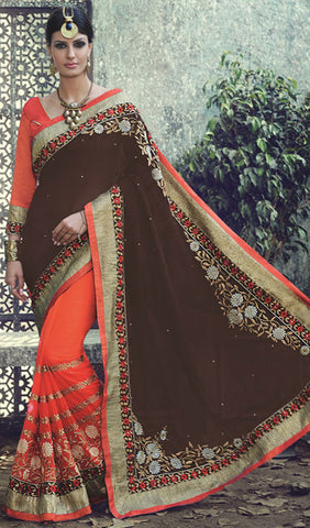 Designer Saree:atisundar graceful Designer Embroidered Saree in Brown  - 10394 - atisundar - 1 - click to zoom