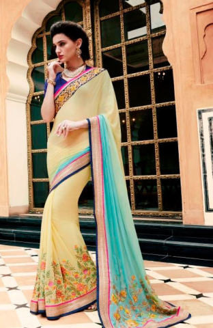 Designer Embroidered Saree:atisundar enticing Designer Embroidery Saree in Light Yellow  - 8589 - atisundar - 1 - click to zoom