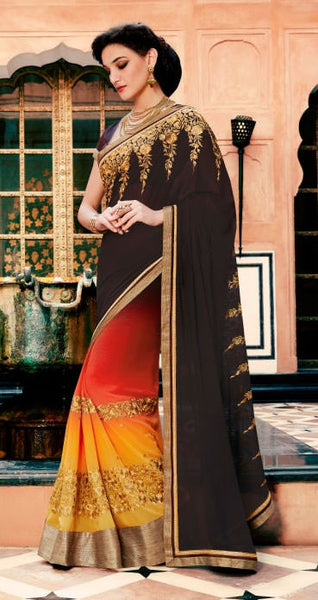Designer Embroidered Saree:atisundar marvelous Designer Embroidery Saree in Brown  - 8590 - atisundar - 2 - click to zoom