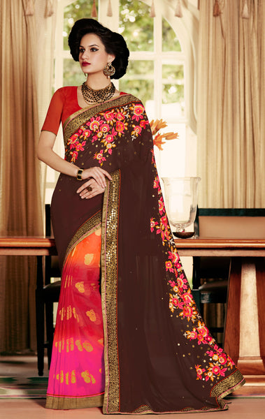 Designer Embroidered Saree:atisundar marvelous Designer Embroidery Saree in Brown  - 8601 - atisundar - 2 - click to zoom