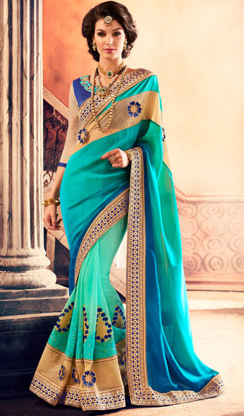 Designer Saree:atisundar divine Designer Party Wear Sarees in Sea Green  - 10334 - atisundar - 1 - click to zoom