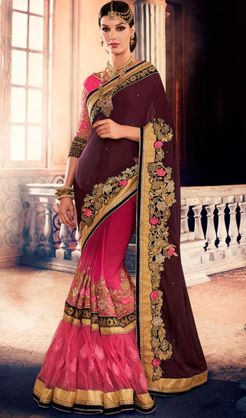 Designer Saree:atisundar bewitching Designer Party Wear Sarees in Pink  - 10345 - atisundar - 1 - click to zoom
