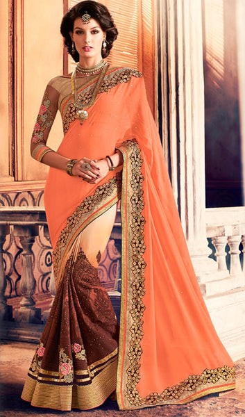 Designer Saree:atisundar refined Designer Party Wear Sarees in Brown  - 10349 - atisundar - 1 - click to zoom