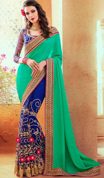 Designer Party Wear Saree:atisundar marvelous Embroidered Partywear Saree with Embroidered Blouse in Sea Green  - 10351 - atisundar - 1 - click to zoom