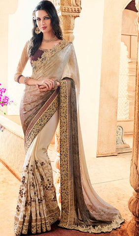 Designer Party Wear Saree:atisundar dazzling Embroidered Partywear Saree with Embroidered Blouse in Beige  - 10353 - atisundar - 1 - click to zoom