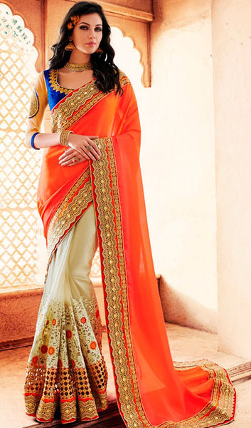 Designer Party Wear Saree:atisundar Great Embroidered Partywear Saree with Embroidered Blouse in Orange  - 10354 - atisundar - 1 - click to zoom