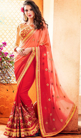 Designer Party Wear Saree:atisundar ravishing Embroidered Partywear Saree with Embroidered Blouse in Red  - 10355 - atisundar - 1 - click to zoom