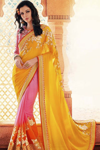 Designer Party Wear Saree:atisundar Smart Embroidered Partywear Saree with Embroidered Blouse in Yellow  - 10358 - atisundar - 1 - click to zoom