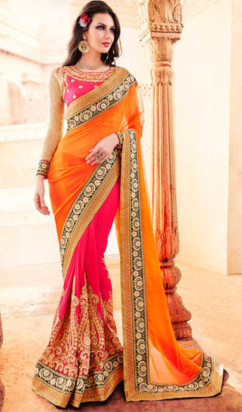 Designer Party Wear Saree:atisundar beauteous Embroidered Partywear Saree with Embroidered Blouse in Orange  - 10360 - atisundar - 1 - click to zoom