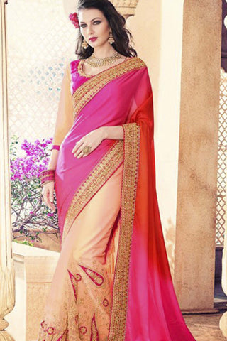 Designer Party Wear Saree:atisundar beauteous Embroidered Partywear Saree with Embroidered Blouse in Pink  - 10364 - atisundar - 1 - click to zoom