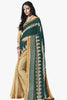 Designer Saree:atisundar Great Party wear Sarees with designer blouses and embroidered border in Dark Green And Cream  - 10758 - atisundar - 1 - click to zoom