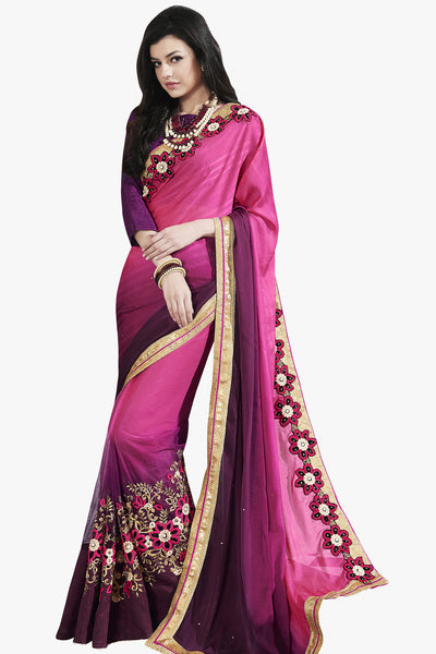 Designer Saree:atisundar Superb Party wear Sarees with designer blouses and embroidered border in Pink And Purple  - 10759 - atisundar - 1 - click to zoom