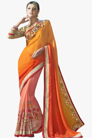 Designer Saree:atisundar gorgeous Party wear Sarees with designer blouses and embroidered border in Orange And Peach  - 10760 - atisundar - 1 - click to zoom