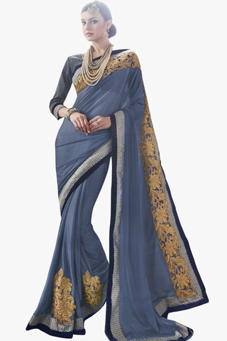 Designer Saree:atisundar fascinating Party wear Sarees with designer blouses and embroidered border in Blue Grey  - 10762 - atisundar - 1 - click to zoom