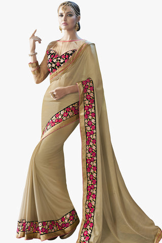 Designer Saree:atisundar appealing Party wear Sarees with designer blouses and embroidered border in Cream  - 10764 - atisundar - 1 - click to zoom