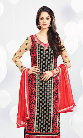 Embroidered Party Wear Straight Cut Suit:atisundar pretty Red And Black Designer Straight Cut  - 7018 - atisundar - 4 - click to zoom